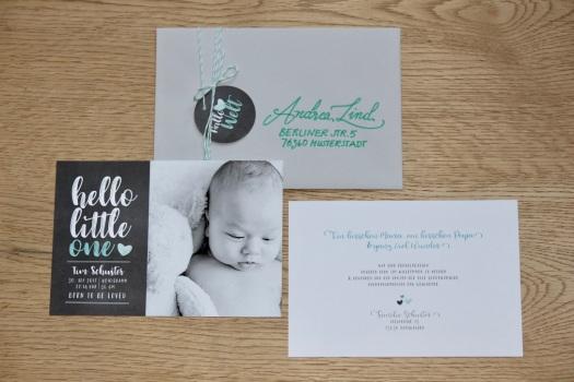 Geburtskarte hello little one Junge 1