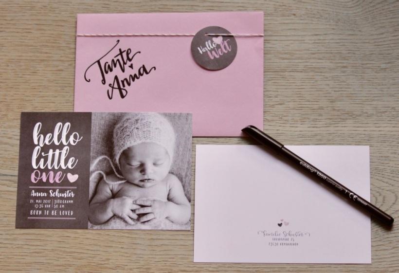 Geburtskarte hello little one Mädchen 1